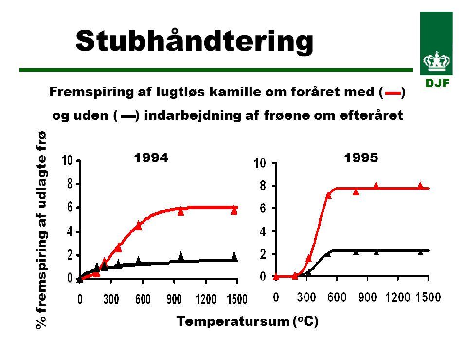 Stubhåndtering DJF Temperatursum ( o C) % fremspiring af udlagte frø Fremspiring af lugtløs kamille om foråret med ( ) og uden ( ) indarbejdning af frøene om efteråret 19941995