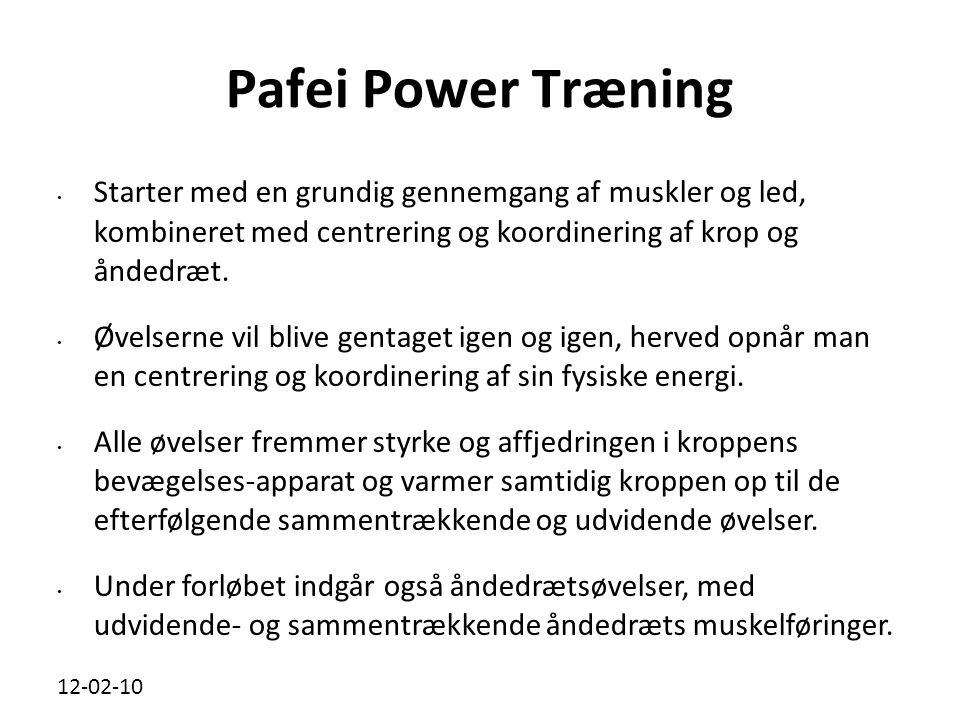 12-02-10 Pafei Power Træning • Starter med en grundig gennemgang af muskler og led, kombineret med centrering og koordinering af krop og åndedræt.