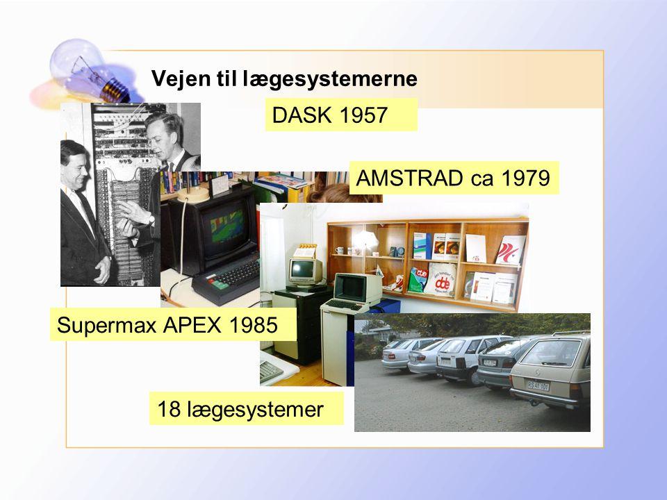 DASK 1957 AMSTRAD ca 1979 Supermax APEX 1985 18 lægesystemer Vejen til lægesystemerne