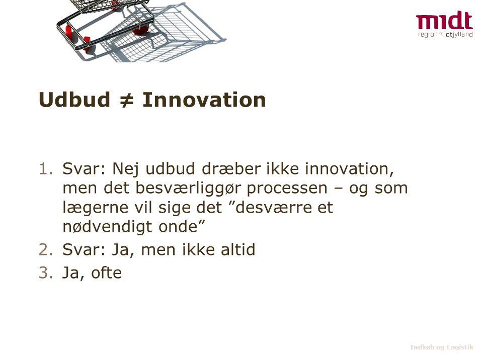 """Indkøb og Logistik Udbud ≠ Innovation 1.Svar: Nej udbud dræber ikke innovation, men det besværliggør processen – og som lægerne vil sige det """"desværre"""