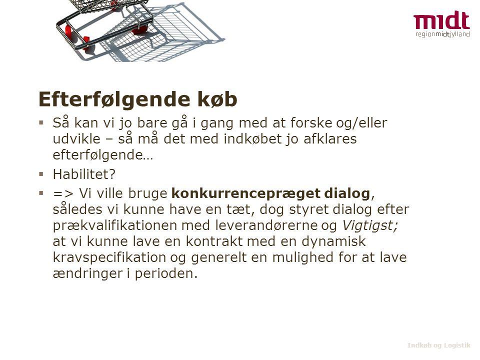 Indkøb og Logistik Konkurrencepræget dialog  Ikke egnet jf.