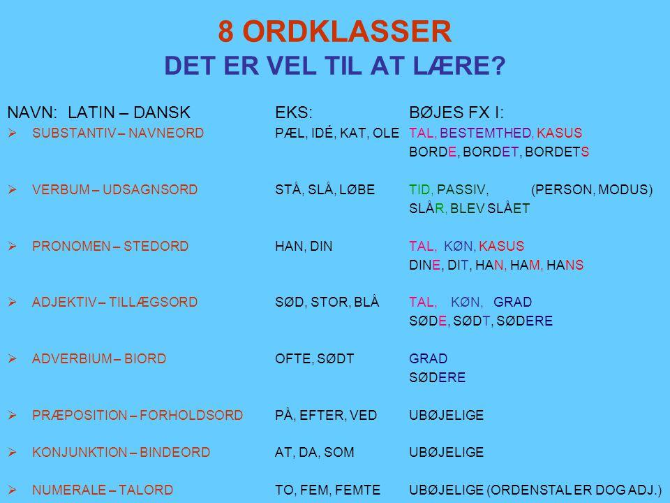 ORDKLASSER og SÆTNINGSLED DE 8 ORDKLASSER  SPROGETS BYGGEMATERIALE (FORM) ER ORD.