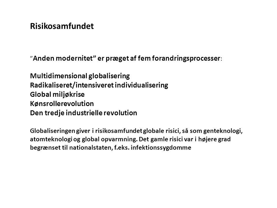 """"""" Anden modernitet"""" er præget af fem forandringsprocesser : Multidimensional globalisering Radikaliseret/intensiveret individualisering Global miljøkr"""
