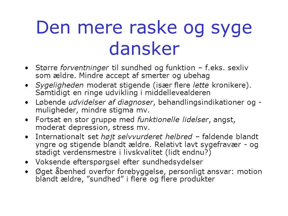 Den mere raske og syge dansker •Større forventninger til sundhed og funktion – f.eks.