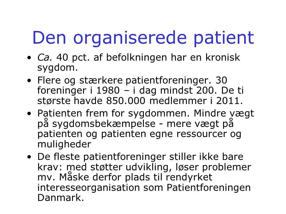 Den organiserede patient •Ca. 40 pct. af befolkningen har en kronisk sygdom.