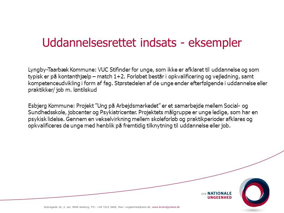 Uddannelsesrettet indsats - eksempler Lyngby-Taarbæk Kommune: VUC Stifinder for unge, som ikke er afklaret til uddannelse og som typisk er på kontanthjælp – match 1+2.