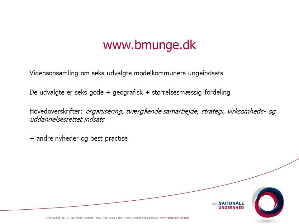 www.bmunge.dk Vidensopsamling om seks udvalgte modelkommuners ungeindsats De udvalgte er seks gode + geografisk + størrelsesmæssig fordeling Hovedoverskrifter: organisering, tværgående samarbejde, strategi, virksomheds- og uddannelsesrettet indsats + andre nyheder og best practise