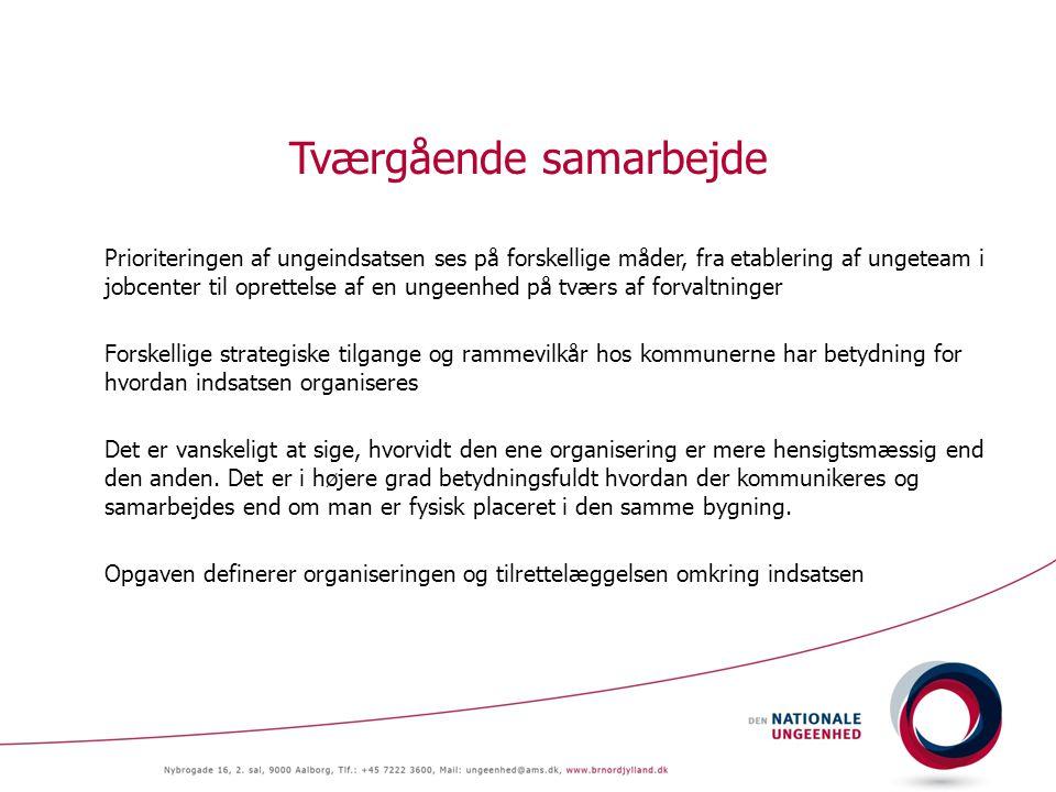 Tværgående samarbejde Prioriteringen af ungeindsatsen ses på forskellige måder, fra etablering af ungeteam i jobcenter til oprettelse af en ungeenhed på tværs af forvaltninger Forskellige strategiske tilgange og rammevilkår hos kommunerne har betydning for hvordan indsatsen organiseres Det er vanskeligt at sige, hvorvidt den ene organisering er mere hensigtsmæssig end den anden.