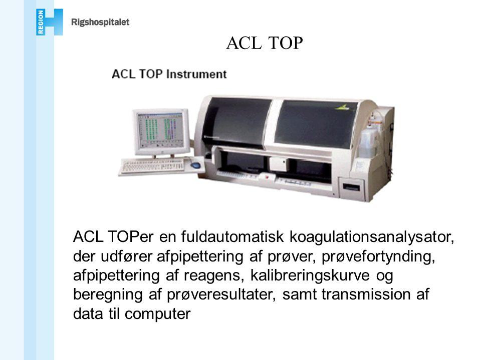 ACL TOP ACL TOPer en fuldautomatisk koagulationsanalysator, der udfører afpipettering af prøver, prøvefortynding, afpipettering af reagens, kalibreringskurve og beregning af prøveresultater, samt transmission af data til computer