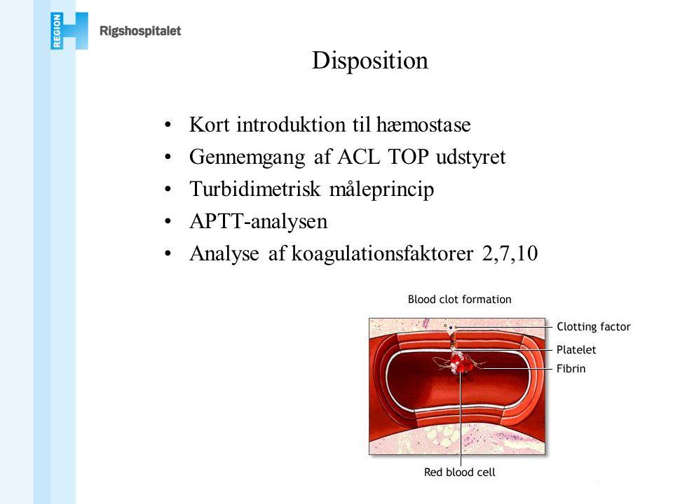 Disposition •Kort introduktion til hæmostase •Gennemgang af ACL TOP udstyret •Turbidimetrisk måleprincip •APTT-analysen •Analyse af koagulationsfaktorer 2,7,10