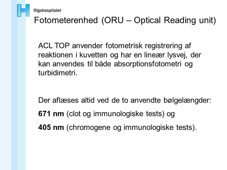 Fotometerenhed (ORU – Optical Reading unit) ACL TOP anvender fotometrisk registrering af reaktionen i kuvetten og har en lineær lysvej, der kan anvendes til både absorptionsfotometri og turbidimetri.