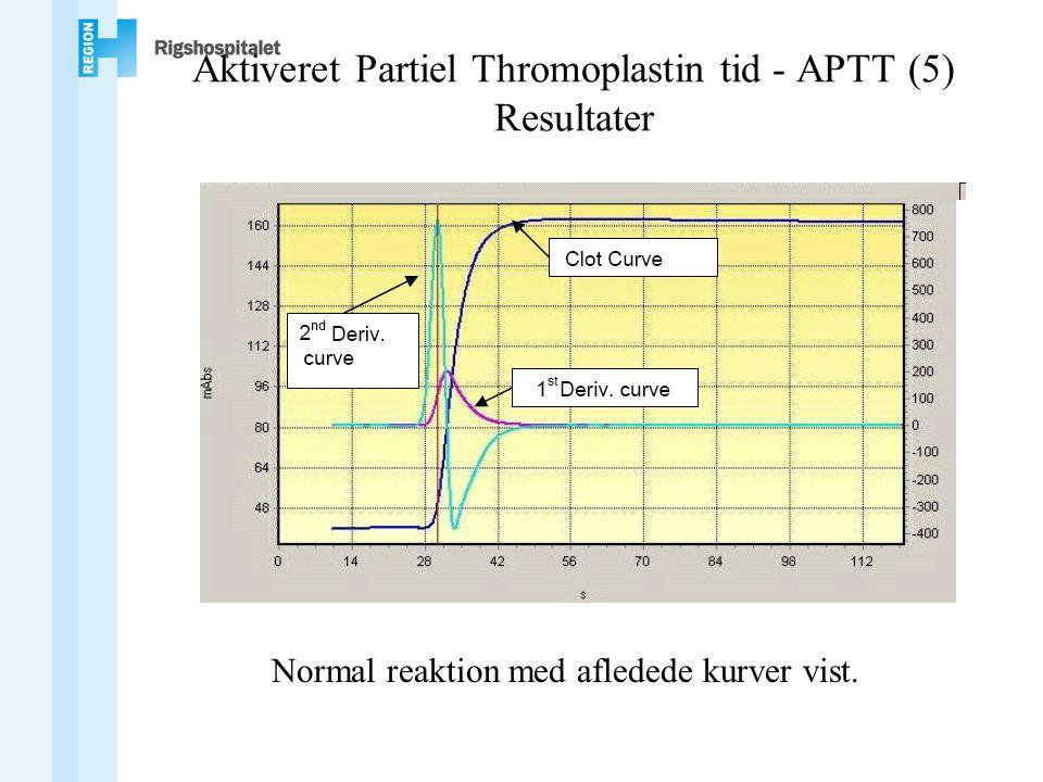 Aktiveret Partiel Thromoplastin tid - APTT (5) Resultater Normal reaktion med afledede kurver vist.