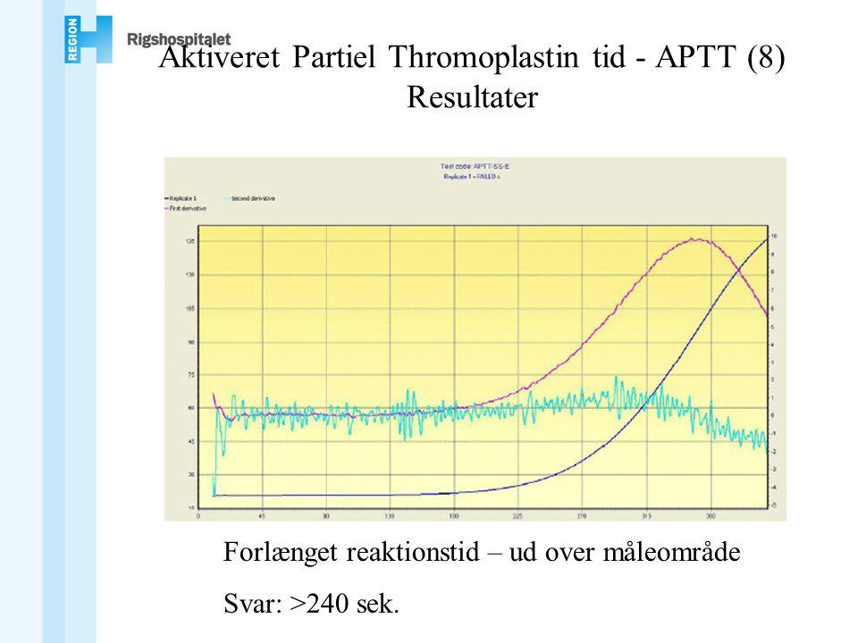 Aktiveret Partiel Thromoplastin tid - APTT (8) Resultater Forlænget reaktionstid – ud over måleområde Svar: >240 sek.