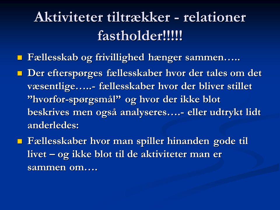 Aktiviteter tiltrækker - relationer fastholder!!!!.