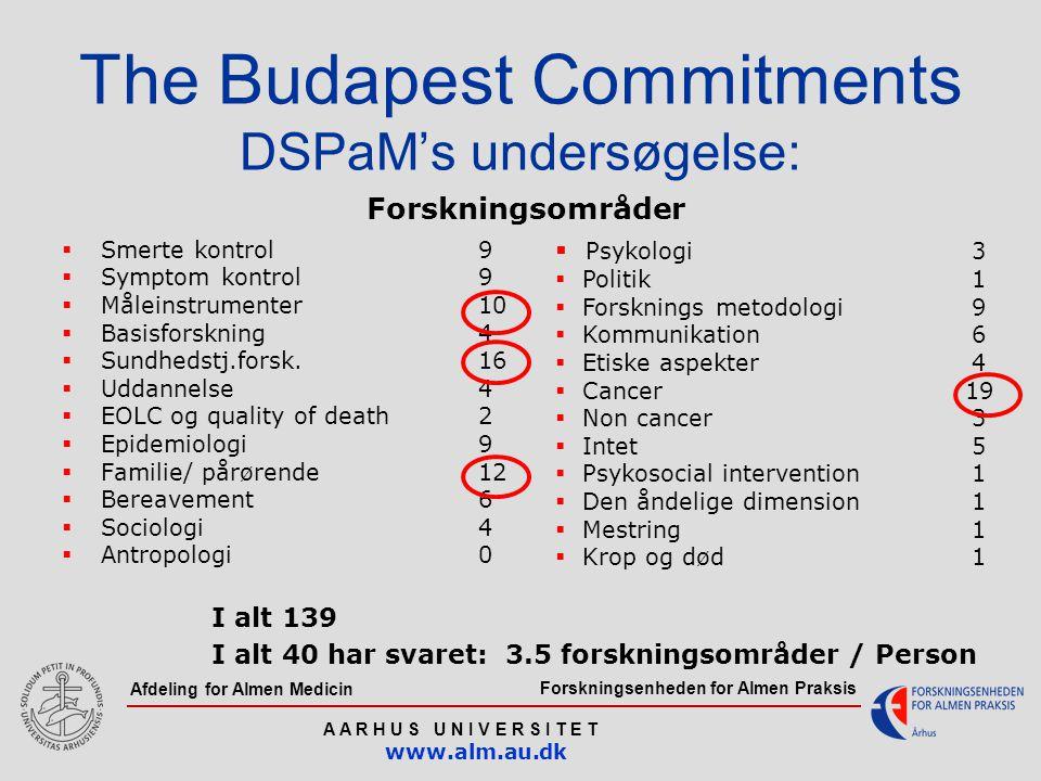 Forskningsenheden for Almen Praksis A A R H U S U N I V E R S I T E T www.alm.au.dk Afdeling for Almen Medicin The Budapest Commitments DSPaM's undersøgelse:  Smerte kontrol9  Symptom kontrol9  Måleinstrumenter10  Basisforskning4  Sundhedstj.forsk.16  Uddannelse4  EOLC og quality of death 2  Epidemiologi9  Familie/ pårørende12  Bereavement6  Sociologi4  Antropologi 0  Psykologi3  Politik1  Forsknings metodologi9  Kommunikation6  Etiske aspekter4  Cancer 19  Non cancer3  Intet5  Psykosocial intervention1  Den åndelige dimension1  Mestring 1  Krop og død1 I alt 139 I alt 40 har svaret: 3.5 forskningsområder / Person Forskningsområder