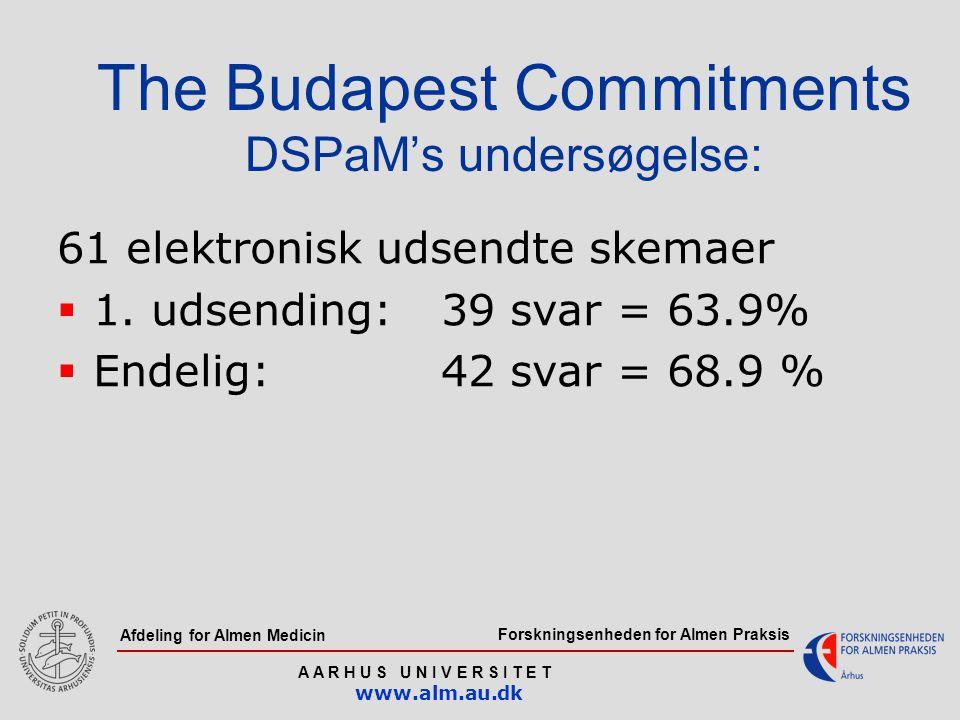 Forskningsenheden for Almen Praksis A A R H U S U N I V E R S I T E T www.alm.au.dk Afdeling for Almen Medicin The Budapest Commitments DSPaM's undersøgelse: 61 elektronisk udsendte skemaer  1.
