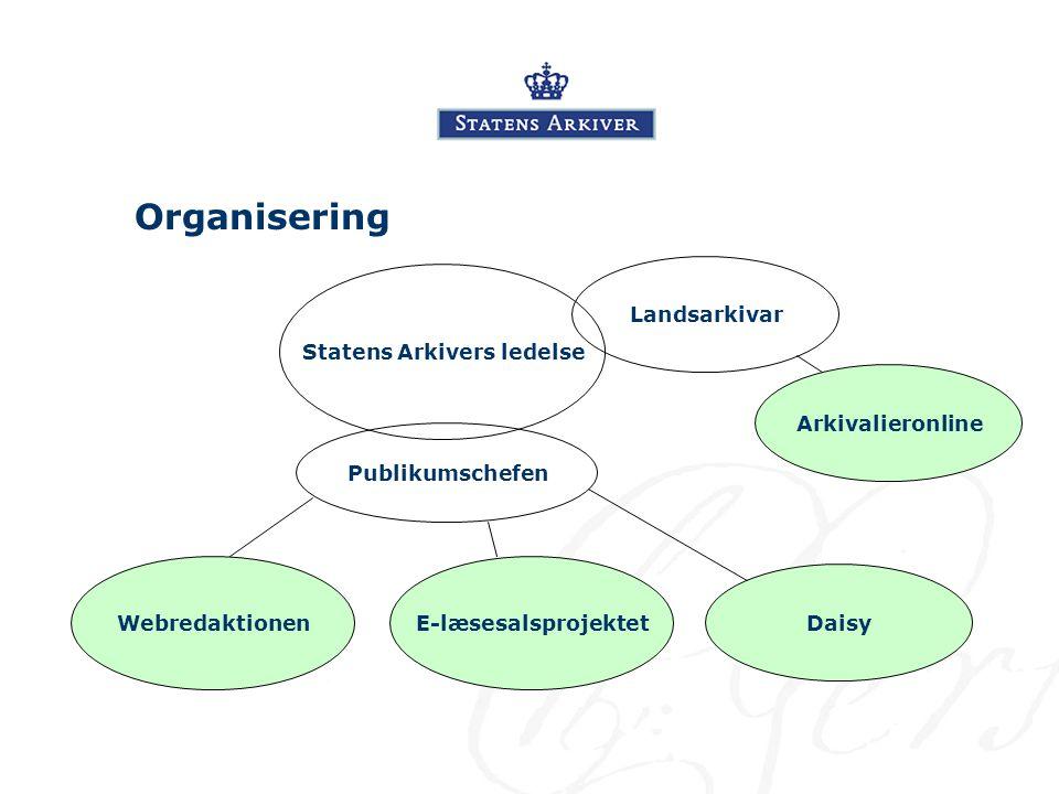 Organisering Statens Arkivers ledelse Publikumschefen WebredaktionenE-læsesalsprojektet ArkivalieronlineDaisyLandsarkivar