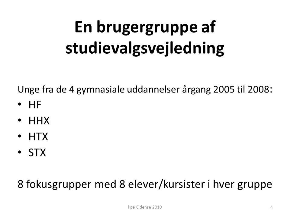 En brugergruppe af studievalgsvejledning Unge fra de 4 gymnasiale uddannelser årgang 2005 til 2008 : • HF • HHX • HTX • STX 8 fokusgrupper med 8 elever/kursister i hver gruppe 4kpa Odense 2010
