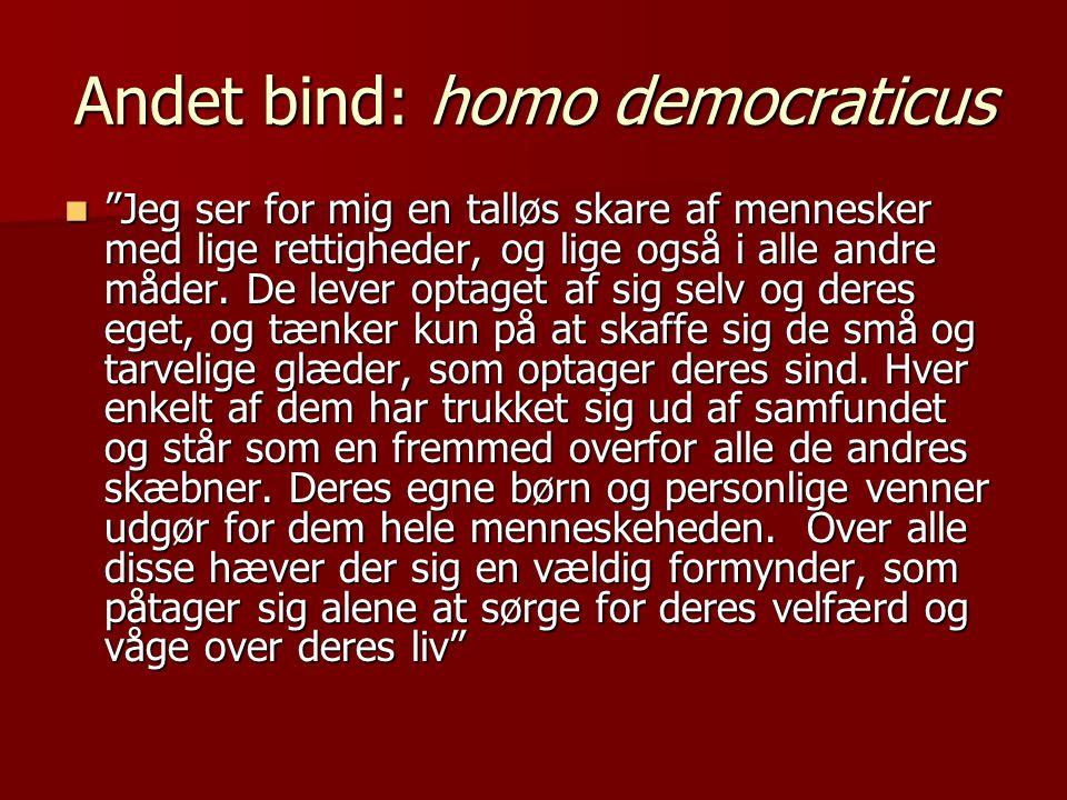 Andet bind: homo democraticus  Jeg ser for mig en talløs skare af mennesker med lige rettigheder, og lige også i alle andre måder.