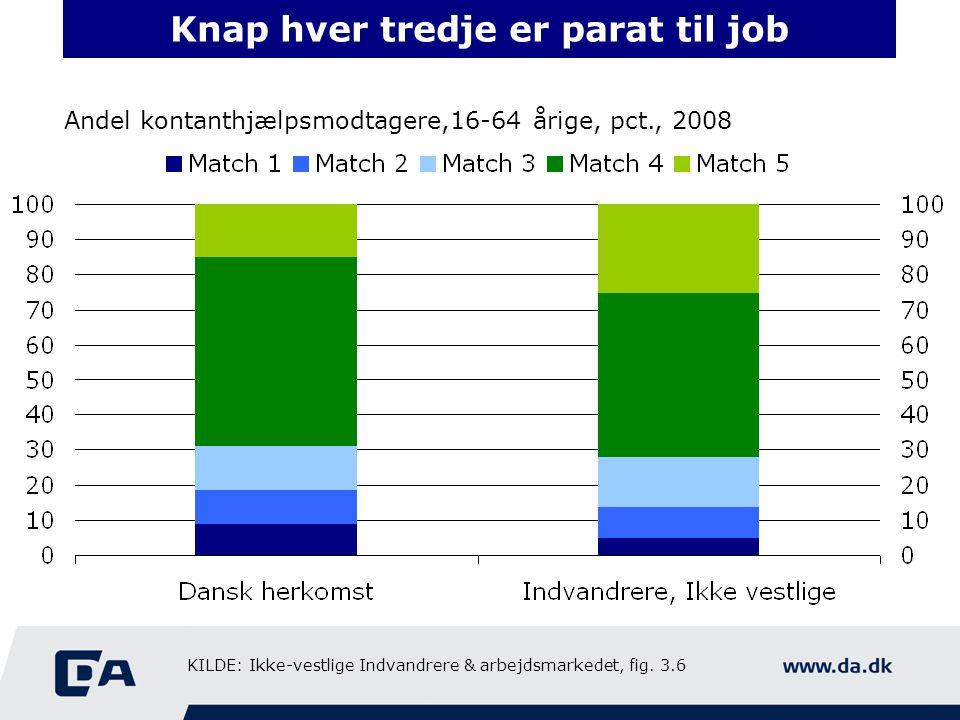 Knap hver tredje er parat til job Andel kontanthjælpsmodtagere,16-64 årige, pct., 2008 KILDE: Ikke-vestlige Indvandrere & arbejdsmarkedet, fig.