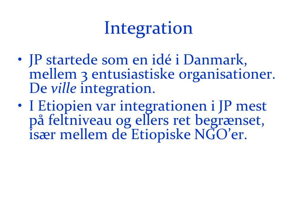 Integration •JP startede som en idé i Danmark, mellem 3 entusiastiske organisationer.