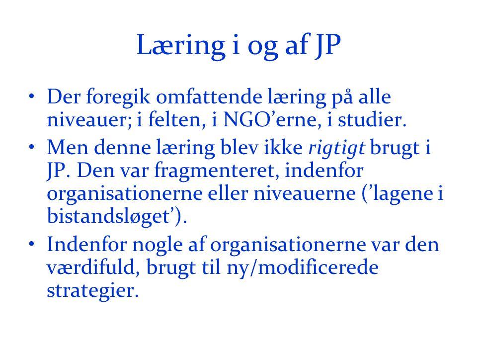 Læring i og af JP •Der foregik omfattende læring på alle niveauer; i felten, i NGO'erne, i studier.