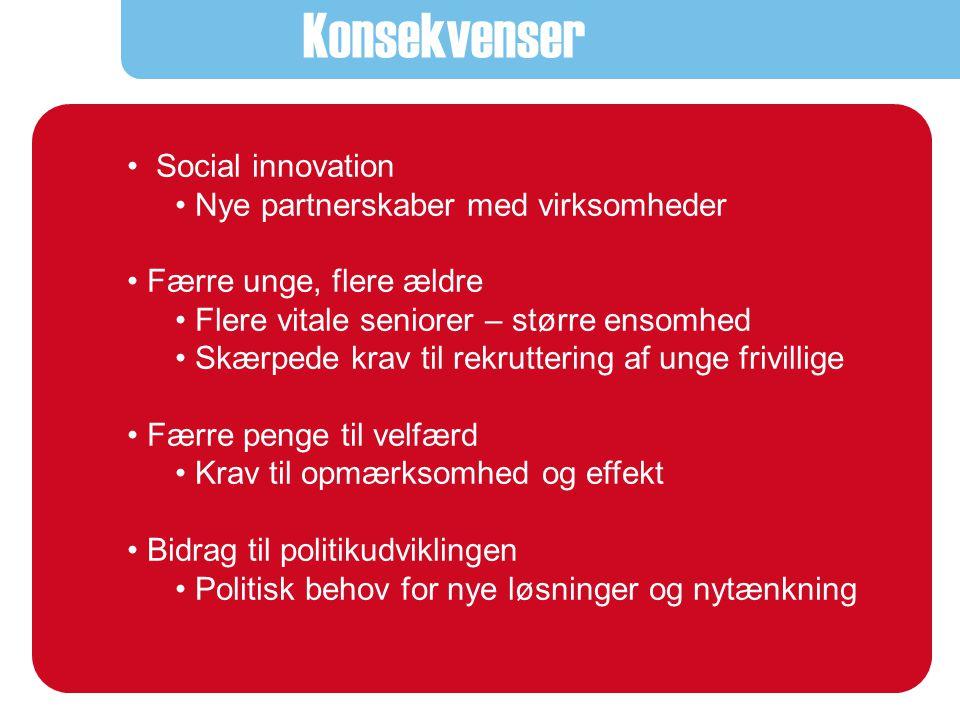 Konsekvenser • Åbenhed overfor nye kræfter/frivillige: - Mange efterspørger mening og muligheden for at gøre en forskel • Ny global dimension i det sociale arbejde • Udnyttelse af de nye muligheder i sociale teknologier - Sammen med brugere, frivillige, personale - Øget gennemsigtighed