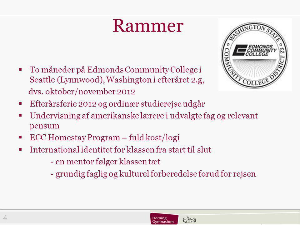 4 Rammer  To måneder på Edmonds Community College i Seattle (Lynnwood), Washington i efteråret 2.g, dvs.