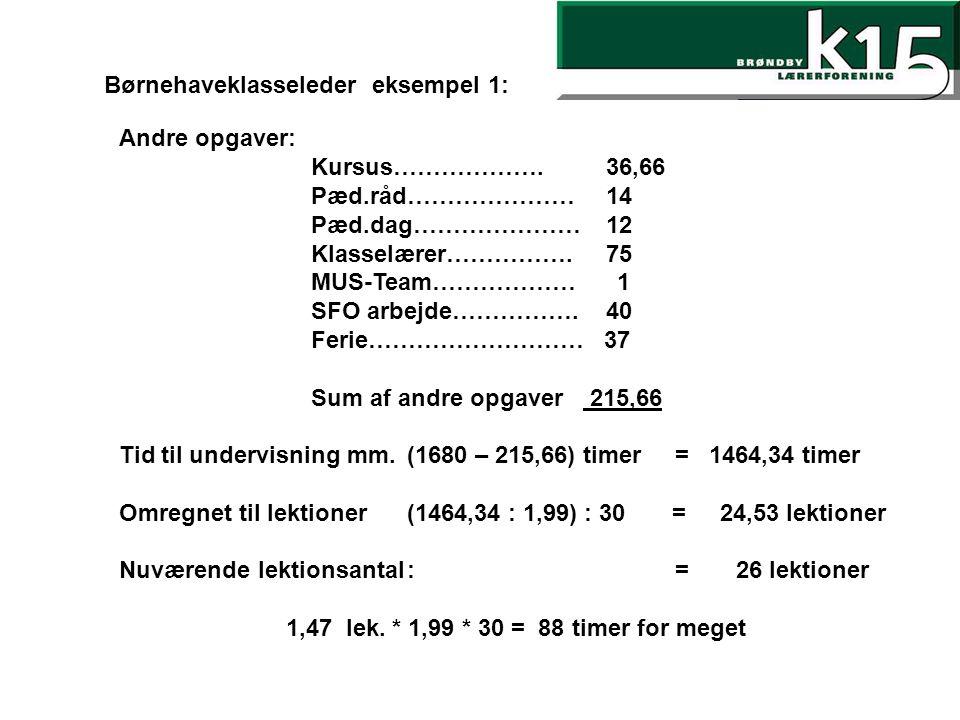 Børnehaveklasseleder eksempel 1: Andre opgaver: Kursus……………….