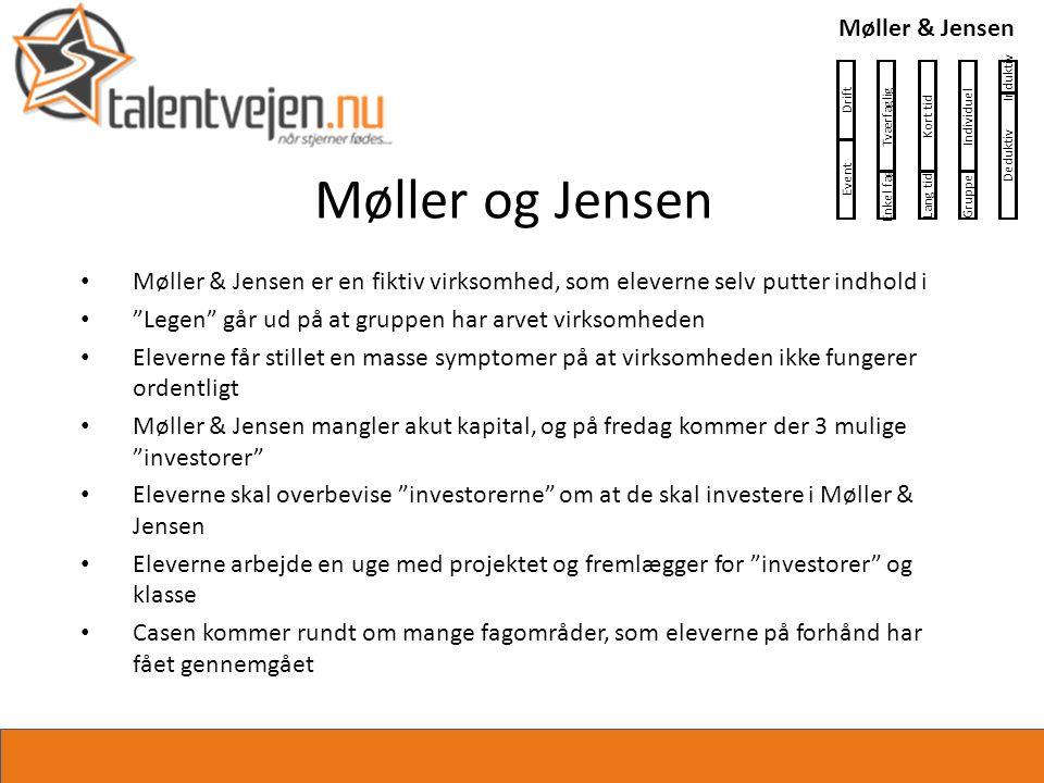 Møller og Jensen • Møller & Jensen er en fiktiv virksomhed, som eleverne selv putter indhold i • Legen går ud på at gruppen har arvet virksomheden • Eleverne får stillet en masse symptomer på at virksomheden ikke fungerer ordentligt • Møller & Jensen mangler akut kapital, og på fredag kommer der 3 mulige investorer • Eleverne skal overbevise investorerne om at de skal investere i Møller & Jensen • Eleverne arbejde en uge med projektet og fremlægger for investorer og klasse • Casen kommer rundt om mange fagområder, som eleverne på forhånd har fået gennemgået