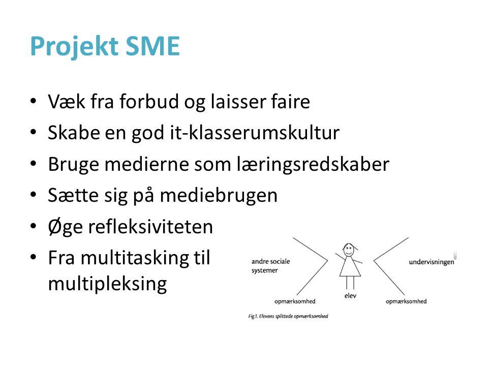 Projekt SME • Væk fra forbud og laisser faire • Skabe en god it-klasserumskultur • Bruge medierne som læringsredskaber • Sætte sig på mediebrugen • Øge refleksiviteten • Fra multitasking til multipleksing