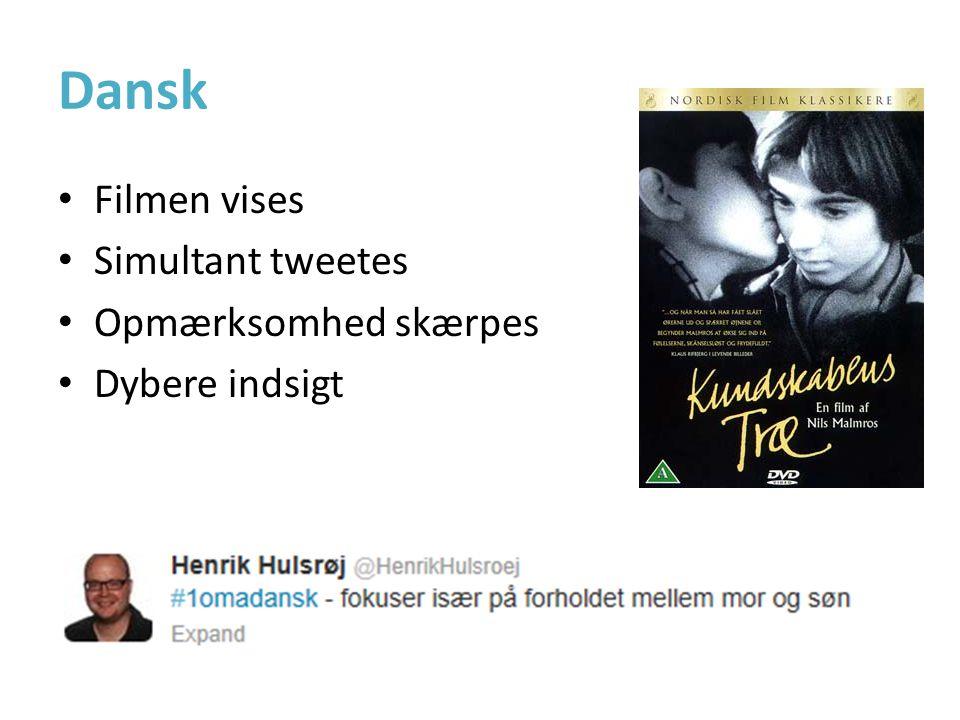 Dansk • Filmen vises • Simultant tweetes • Opmærksomhed skærpes • Dybere indsigt