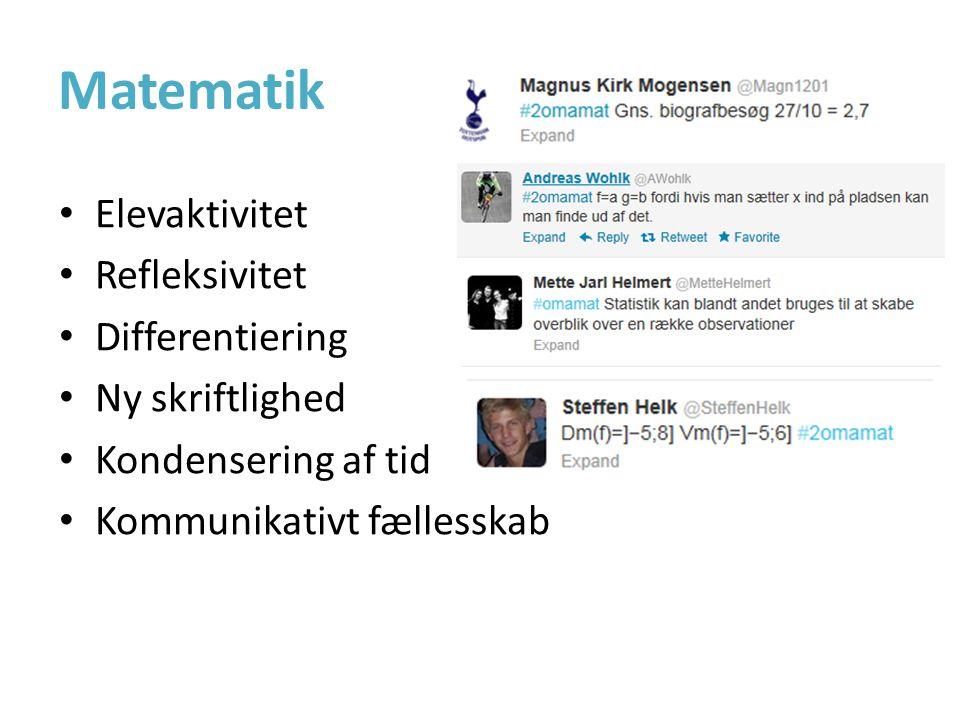 Matematik • Elevaktivitet • Refleksivitet • Differentiering • Ny skriftlighed • Kondensering af tid • Kommunikativt fællesskab
