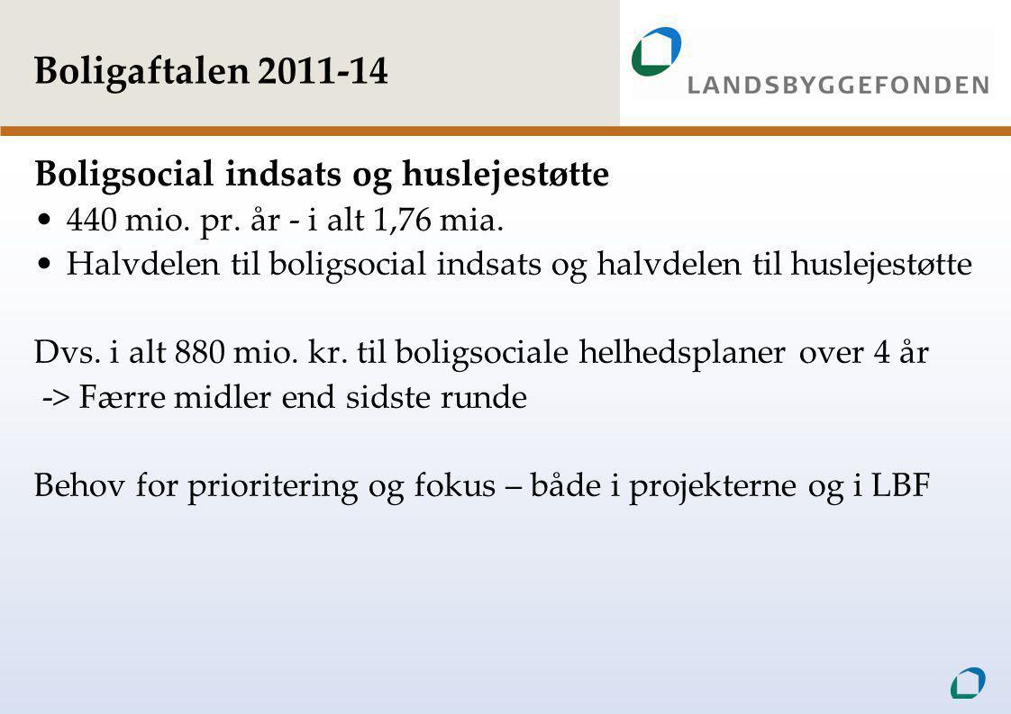 Boligaftalen 2011-14 Boligsocial indsats og huslejestøtte •440 mio.