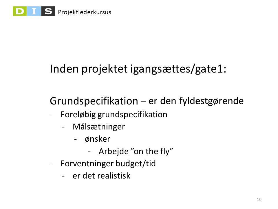 Projektlederkursus Inden projektet igangsættes/gate1: Grundspecifikation -Foreløbig grundspecifikation -Målsætninger -ønsker -Arbejde on the fly -Forventninger budget/tid -er det realistisk – er den fyldestgørende 10