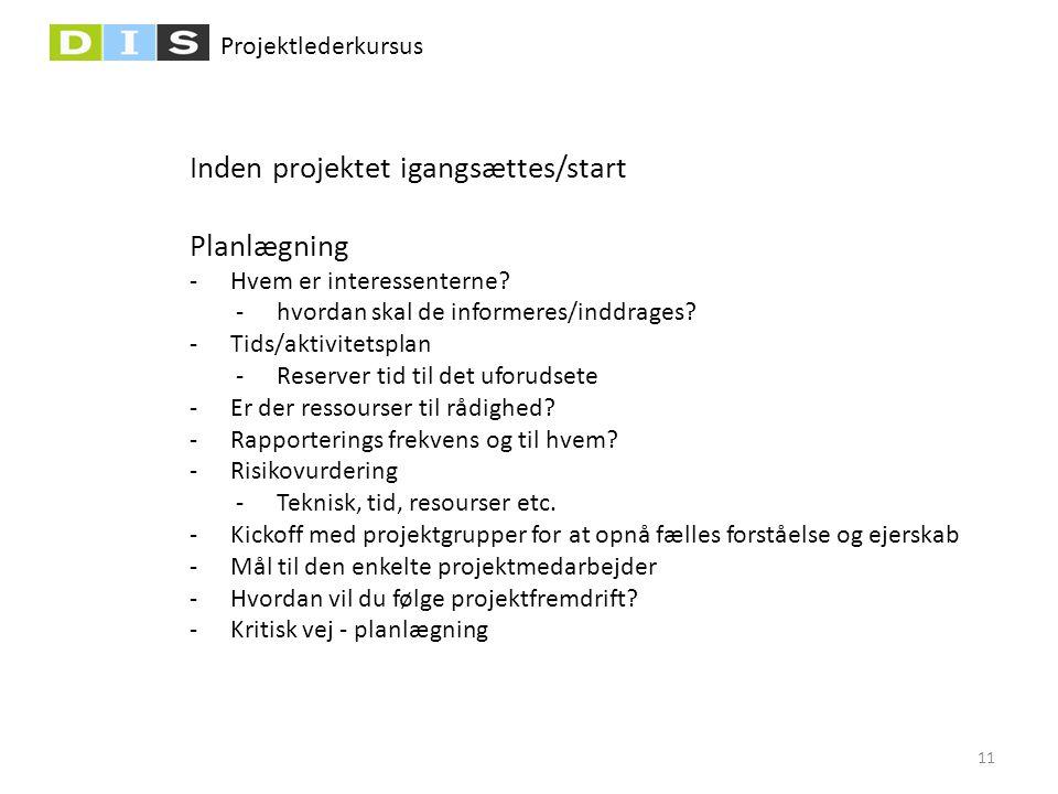 Projektlederkursus Inden projektet igangsættes/start Planlægning -Hvem er interessenterne? -hvordan skal de informeres/inddrages? -Tids/aktivitetsplan