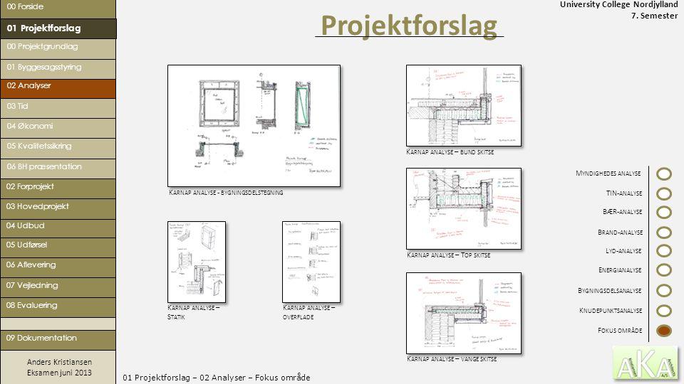 University College Nordjylland 7. Semester Anders Kristiansen Eksamen juni 2013 01 Projektforslag – 02 Analyser – Fokus område Projektforslag 00 Forsi