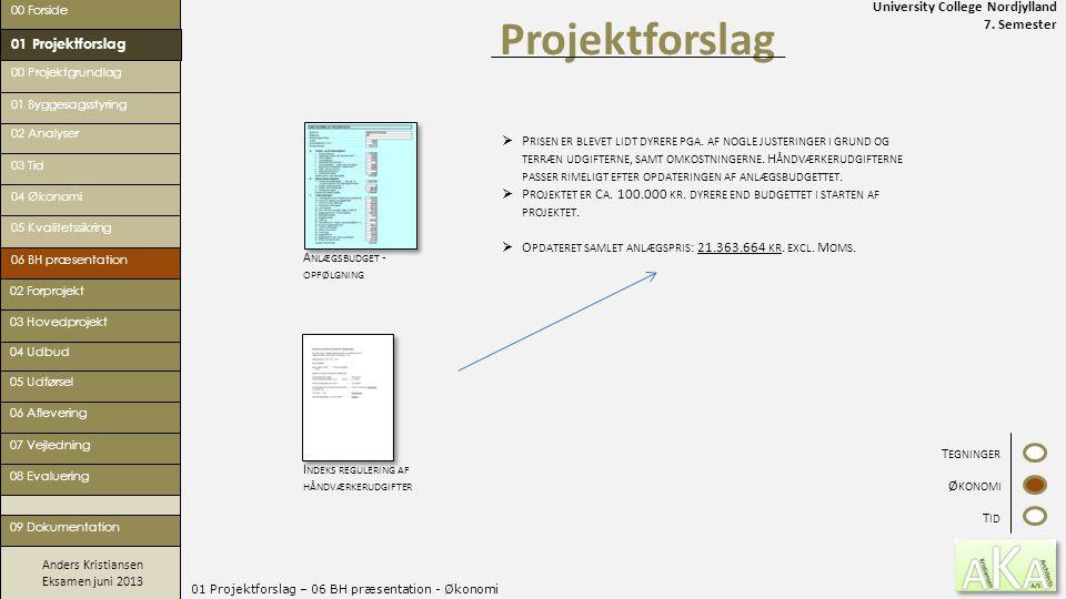 University College Nordjylland 7. Semester Anders Kristiansen Eksamen juni 2013 01 Projektforslag – 06 BH præsentation - Økonomi Projektforslag 00 For