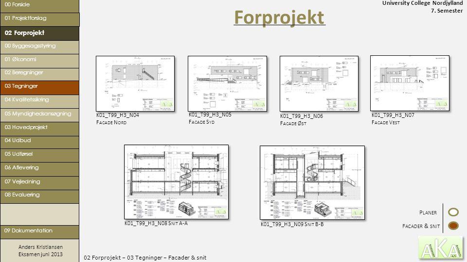 University College Nordjylland 7. Semester Anders Kristiansen Eksamen juni 2013 02 Forprojekt – 03 Tegninger – Facader & snit Forprojekt 00 Forside 02