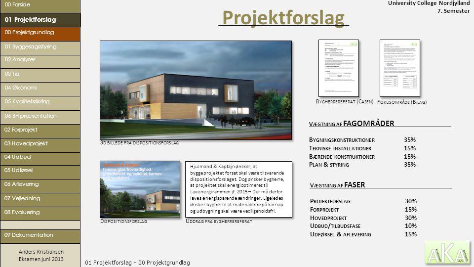 University College Nordjylland 7. Semester Anders Kristiansen Eksamen juni 2013 01 Projektforslag – 00 Projektgrundlag Projektforslag 00 Forside 00 Pr