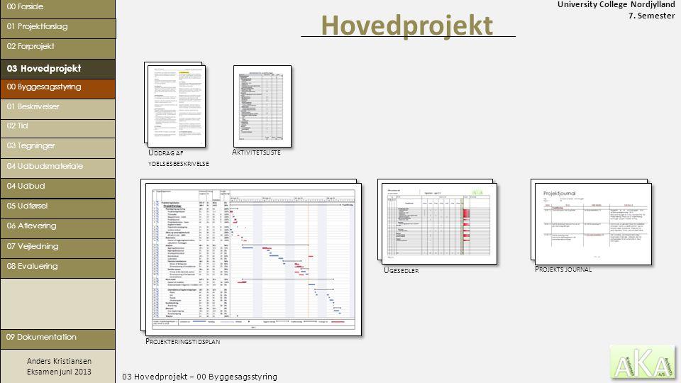 University College Nordjylland 7. Semester Anders Kristiansen Eksamen juni 2013 03 Hovedprojekt – 00 Byggesagsstyring Hovedprojekt 00 Forside 02 Forpr