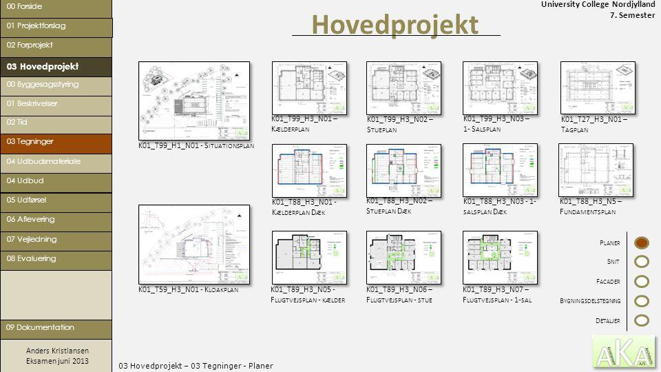 University College Nordjylland 7. Semester Anders Kristiansen Eksamen juni 2013 03 Hovedprojekt – 03 Tegninger - Planer Hovedprojekt 00 Forside 02 For