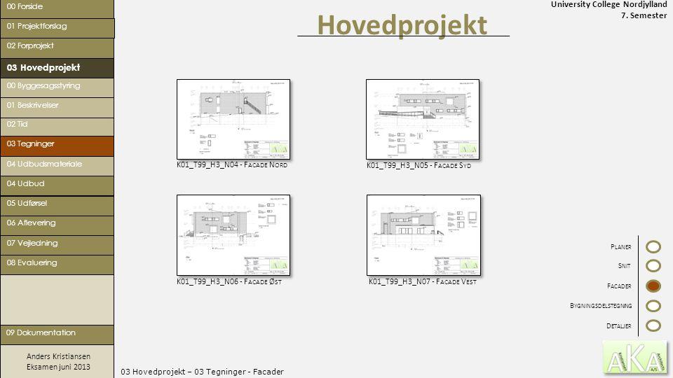 University College Nordjylland 7. Semester Anders Kristiansen Eksamen juni 2013 03 Hovedprojekt – 03 Tegninger - Facader Hovedprojekt 00 Forside 02 Fo