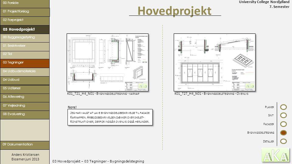 University College Nordjylland 7. Semester Anders Kristiansen Eksamen juni 2013 03 Hovedprojekt – 03 Tegninger - Bygningsdelstegning Hovedprojekt 00 F
