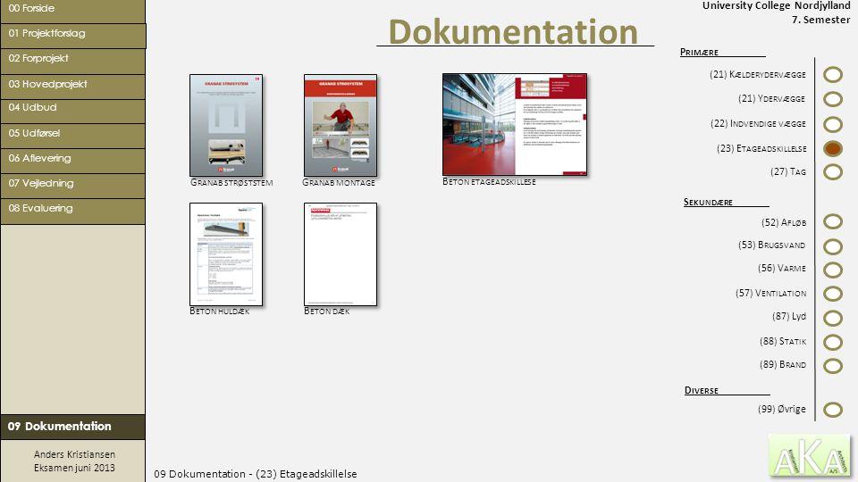 University College Nordjylland 7. Semester Anders Kristiansen Eksamen juni 2013 09 Dokumentation - (23) Etageadskillelse Dokumentation 00 Forside 02 F