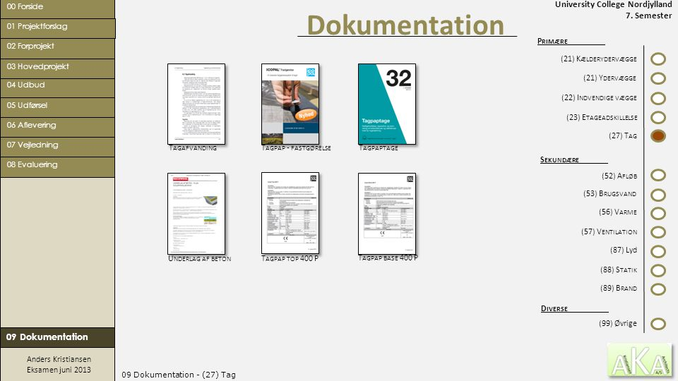 University College Nordjylland 7. Semester Anders Kristiansen Eksamen juni 2013 09 Dokumentation - (27) Tag Dokumentation 00 Forside 02 Forprojekt 05