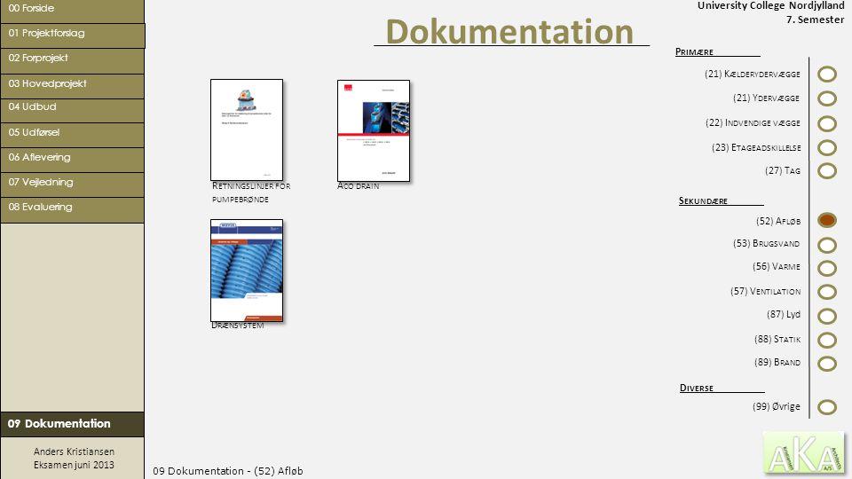 University College Nordjylland 7. Semester Anders Kristiansen Eksamen juni 2013 09 Dokumentation - (52) Afløb Dokumentation 00 Forside 02 Forprojekt 0