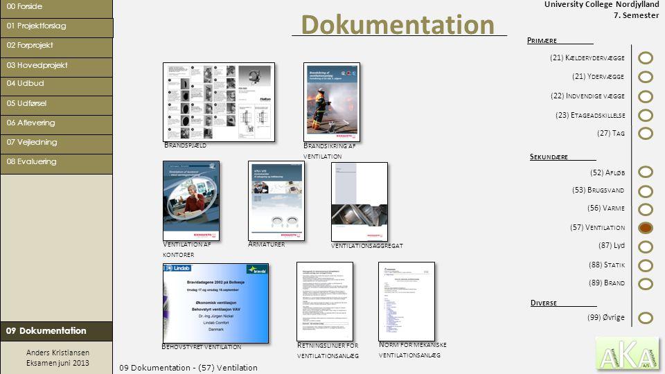 University College Nordjylland 7. Semester Anders Kristiansen Eksamen juni 2013 09 Dokumentation - (57) Ventilation Dokumentation 00 Forside 02 Forpro