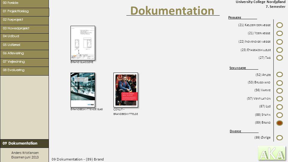 University College Nordjylland 7. Semester Anders Kristiansen Eksamen juni 2013 09 Dokumentation - (89) Brand Dokumentation 00 Forside 02 Forprojekt 0