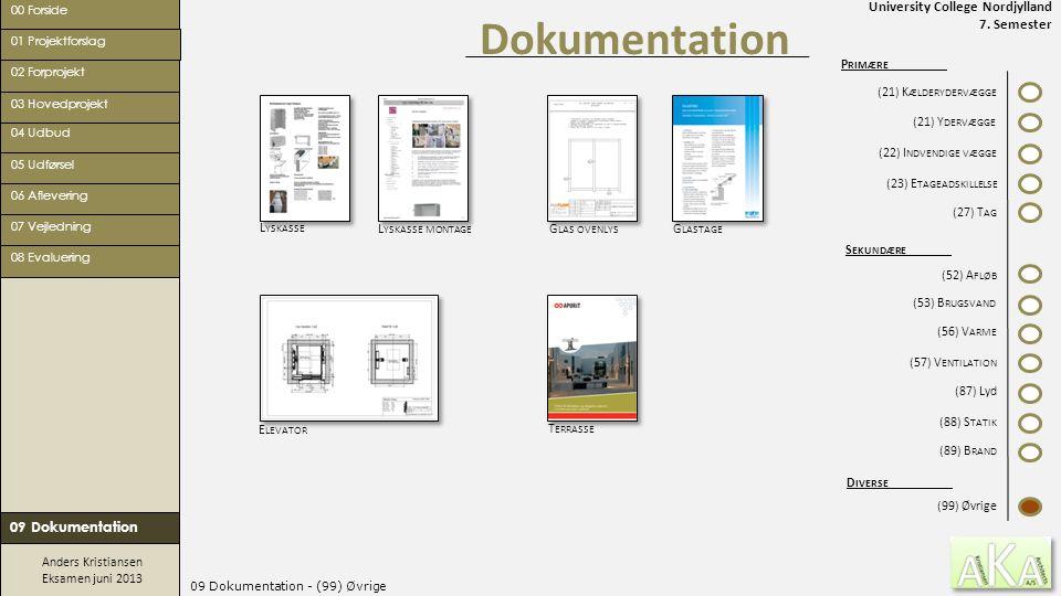University College Nordjylland 7. Semester Anders Kristiansen Eksamen juni 2013 09 Dokumentation - (99) Øvrige Dokumentation 00 Forside 02 Forprojekt